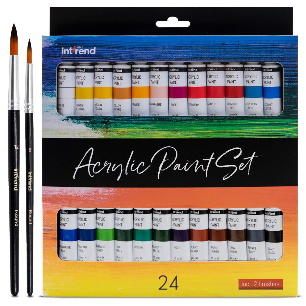 int!rend zestaw farb akrylowych - 24 farby wodoodporne 12 ml każdorazowo 2 pędzle