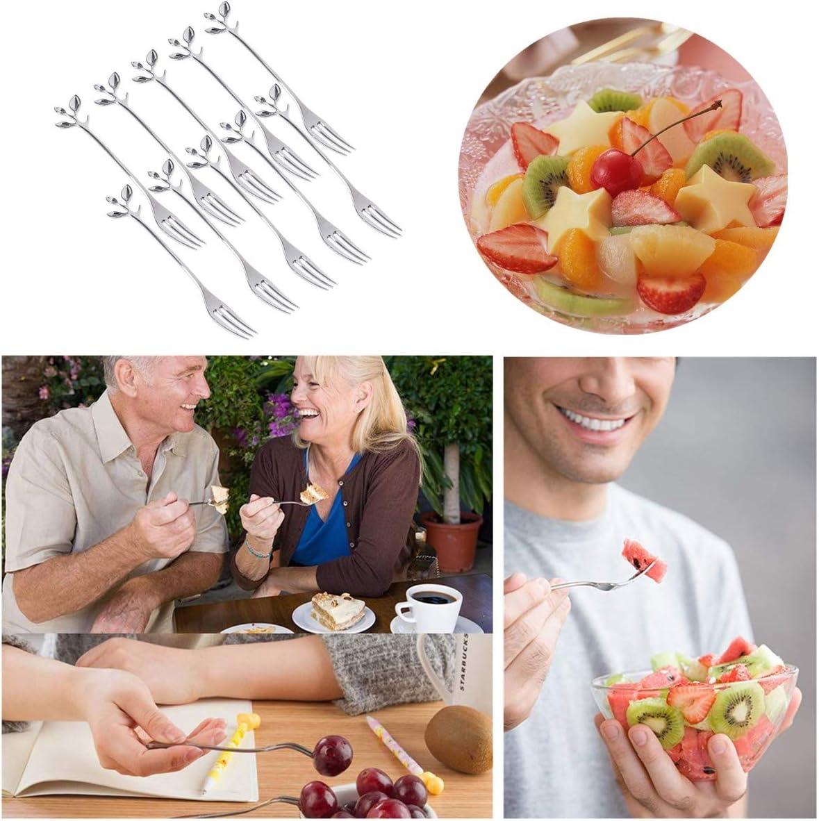 Forchette da frutta in acciaio inox 10 pezzi con manico a foglia antipasti cocktail per dessert insalata torte frutta