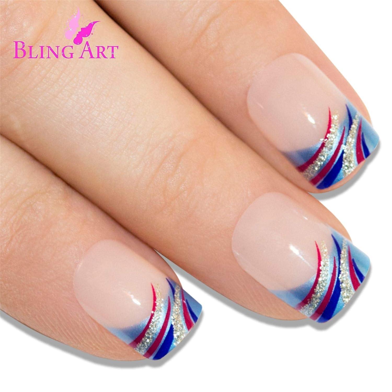 Uñas Postizas Bling Art Azul Resplandecer 24 Squoval Medio Falsas puntas acrílicas con pegamento: Amazon.es: Belleza