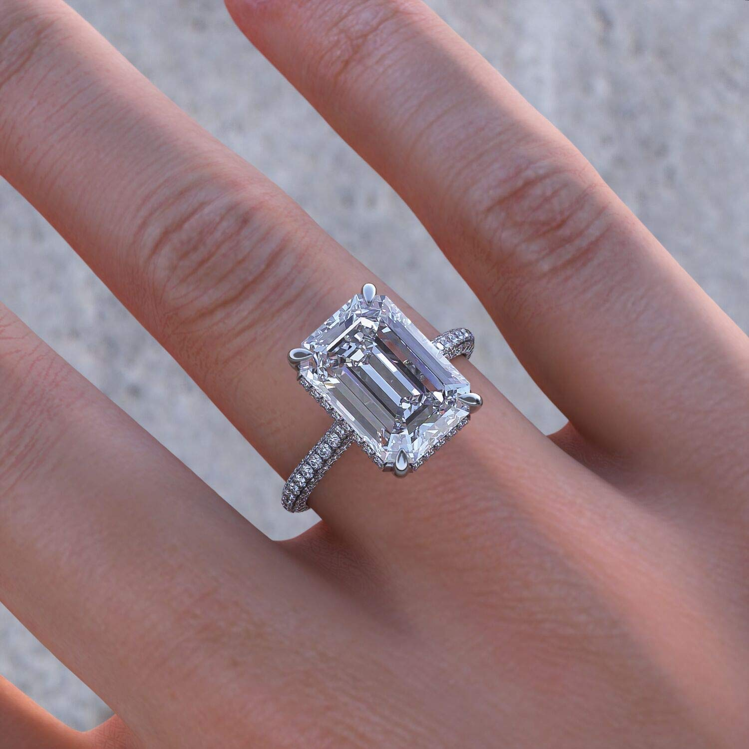 Amazon.com: KEYZAR Engagement Rings for Women, Handmade Solitaire, 5ct Emerald Cut Moissanite 0.75ct 3D Diamonds Pave, 14k or 18k White Gold Wedding Promise Rings for Her, Includes Box (D-F Color, VVS1 Clarity):