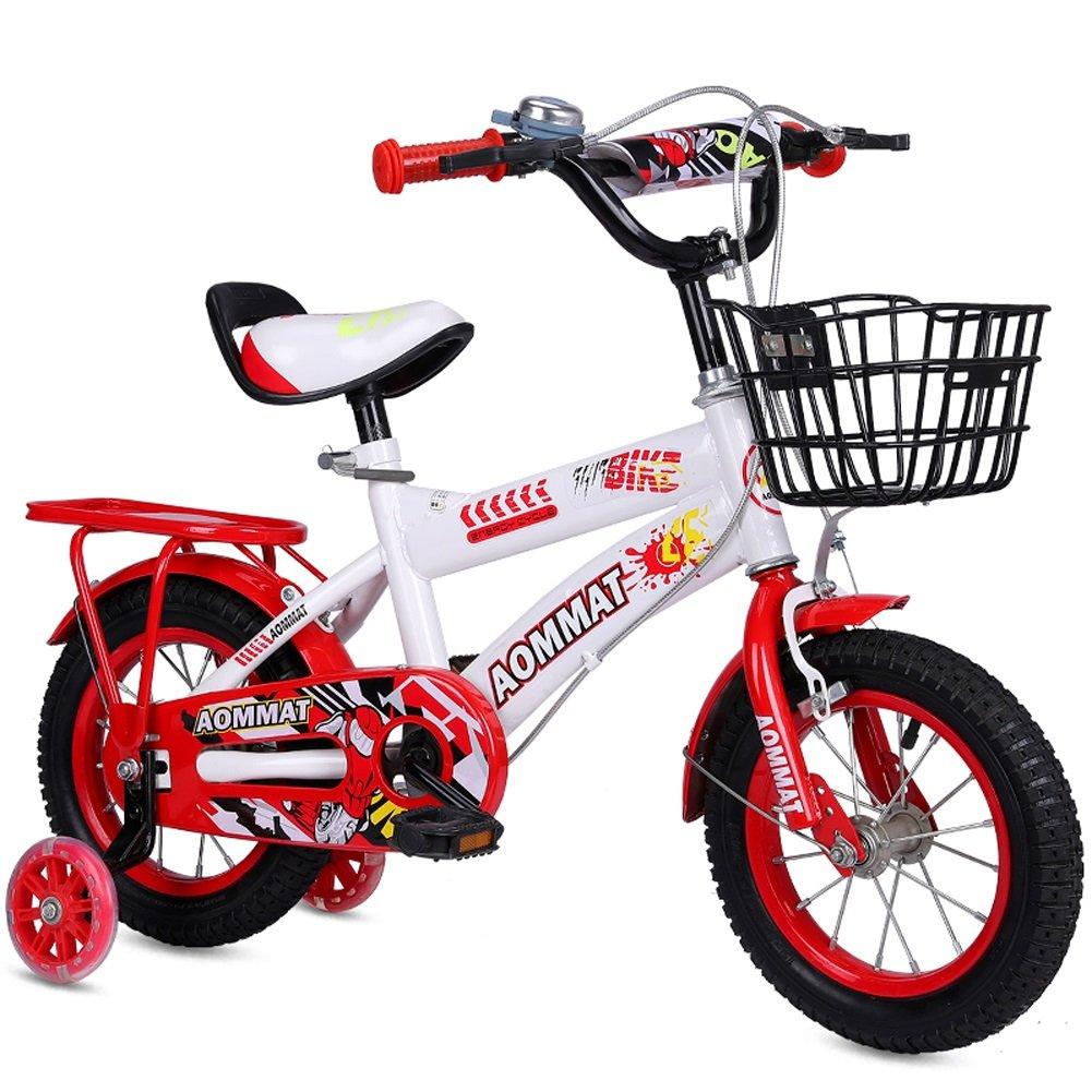 CHS@ 子供の自転車3-6-9歳の男の子と女の子12/14/16/18インチの赤ちゃんキャリッジキッズのトライクとフラッシュミュートトレーニングホイール 子ども用自転車 (色 : Red, サイズ さいず : 12