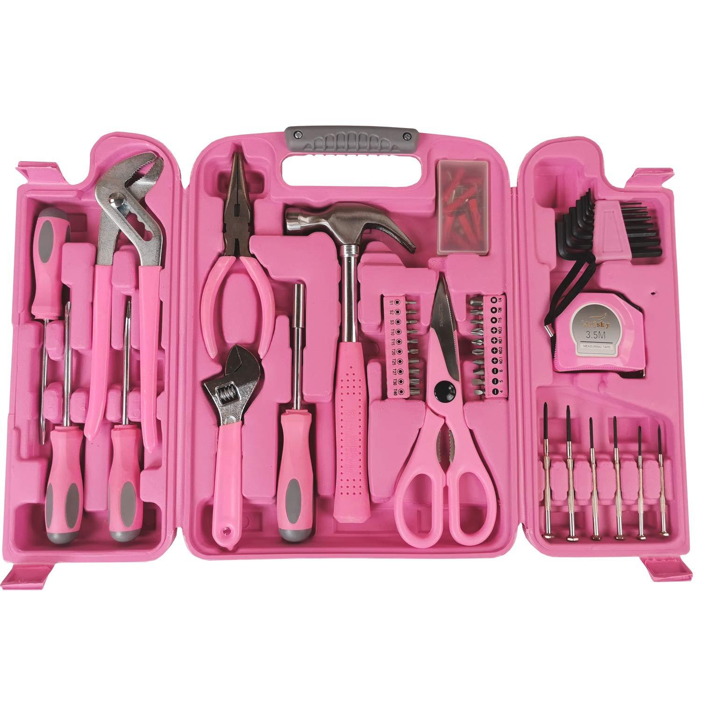 pince Jeu doutils de 28 pi/èces tournevis. Bo/îte /à outils compacte en rose ruban /à mesurer cl/é Avec marteau
