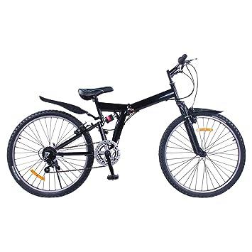 VEVOR Bicicleta MontañA Shimano De Acero Al Carbono MTB 26 Inch Mountainbike 66CM Plegable Bicicleta 6
