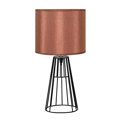 Amazon hompen elegant table lamp black cage shaded steel wire hompen elegant table lamp black cage shaded steel wire base with dark brown fabric keyboard keysfo Choice Image