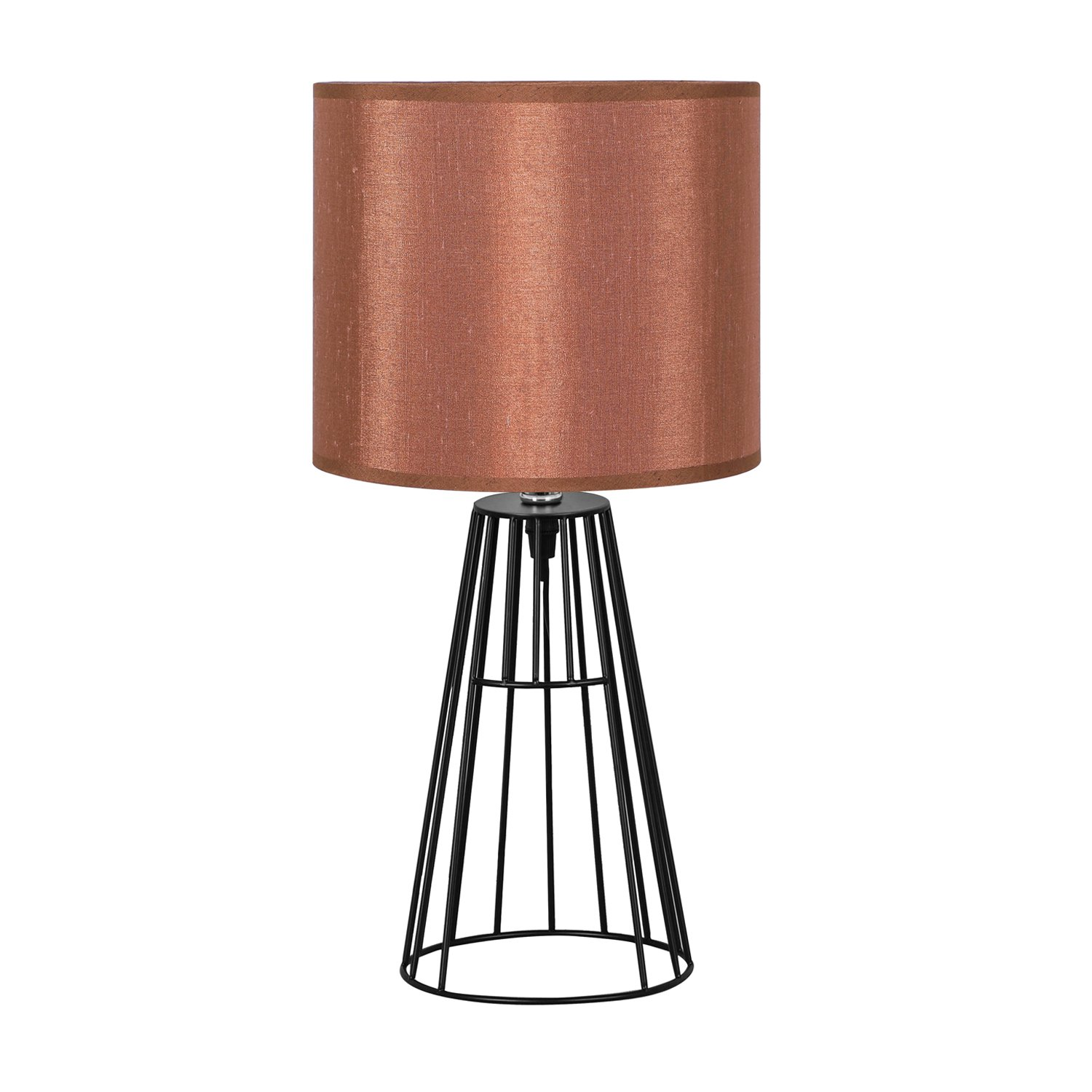HOMPEN Elegant Table Lamp, Black Cage-Shaded Steel Wire Base with Dark Brown Fabric Shade, 18-Inch Height