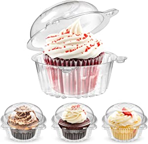 Individual Cupcake Containers, 50 Pack Clear Plastic Single Cupcake Muffin Dome Holders for Sandwich Hamburgers Fruit Salad - Stackable, Individual Cupcake Holders with Lids