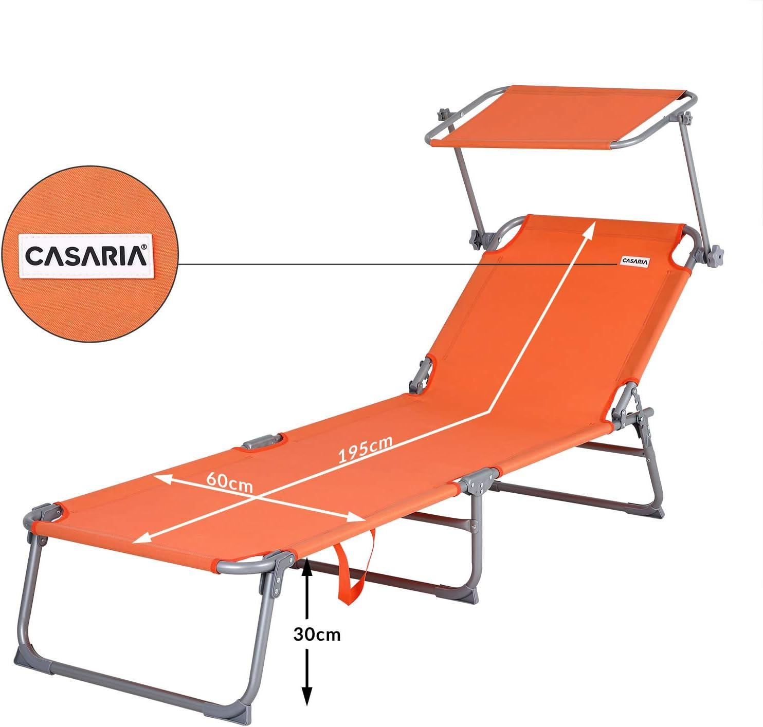 Casaria Sonnenliege Hawaii Dach Tragegriff 195cm L/änge Verstellbar Gartenliege Strandliege Freizeitliege Liege Orange
