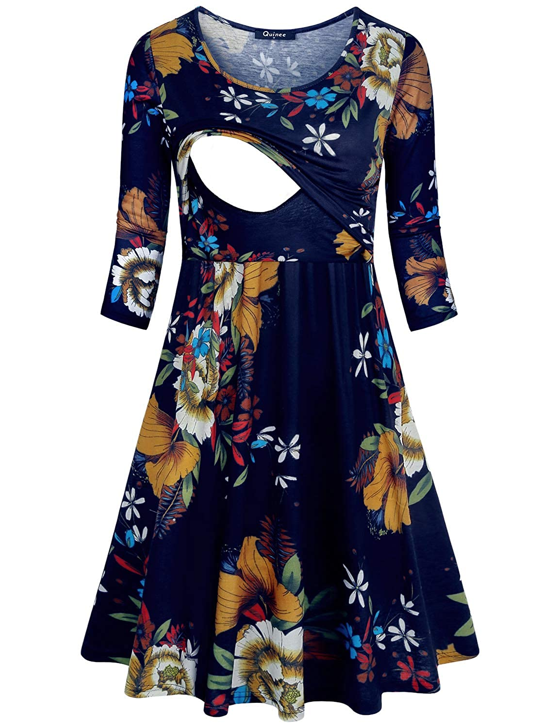 Quinee Women Round Neck 3/4 Sleeve Floral Empire Waist Nursing Dress Breastfeeding
