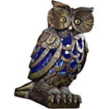 Solar Garden Owl Bug Insects and Mosquito Zapper Sculpture, Brown