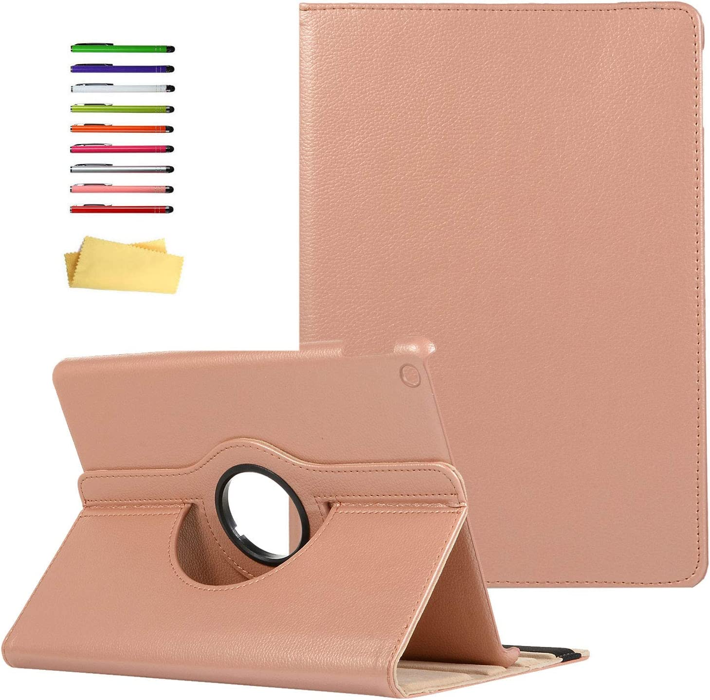 UUcovers iPad 10.2 inch 2020 2019 Case 8th /7th Generation, Smart Multi-Angle Viewing Stand 360 Degree Rotating PU Leather Folio Cover Hard Back Shockproof Swivel Shell with Auto Wake/Sleep, Rosegold
