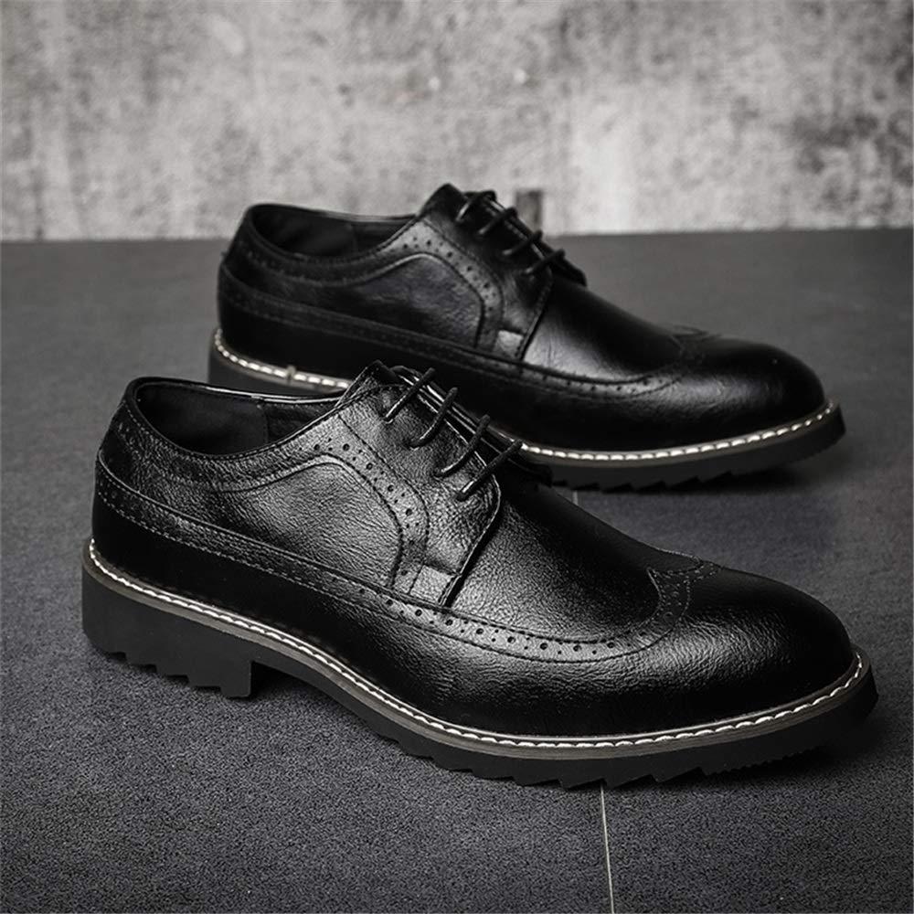 Qiusa Zapatillas para para para Hombre con Punta de ala Zapatillas con Cordones de Suela Blanda de Charol Derby (Color : Negro, tamaño : EU 46) 9b3fe8