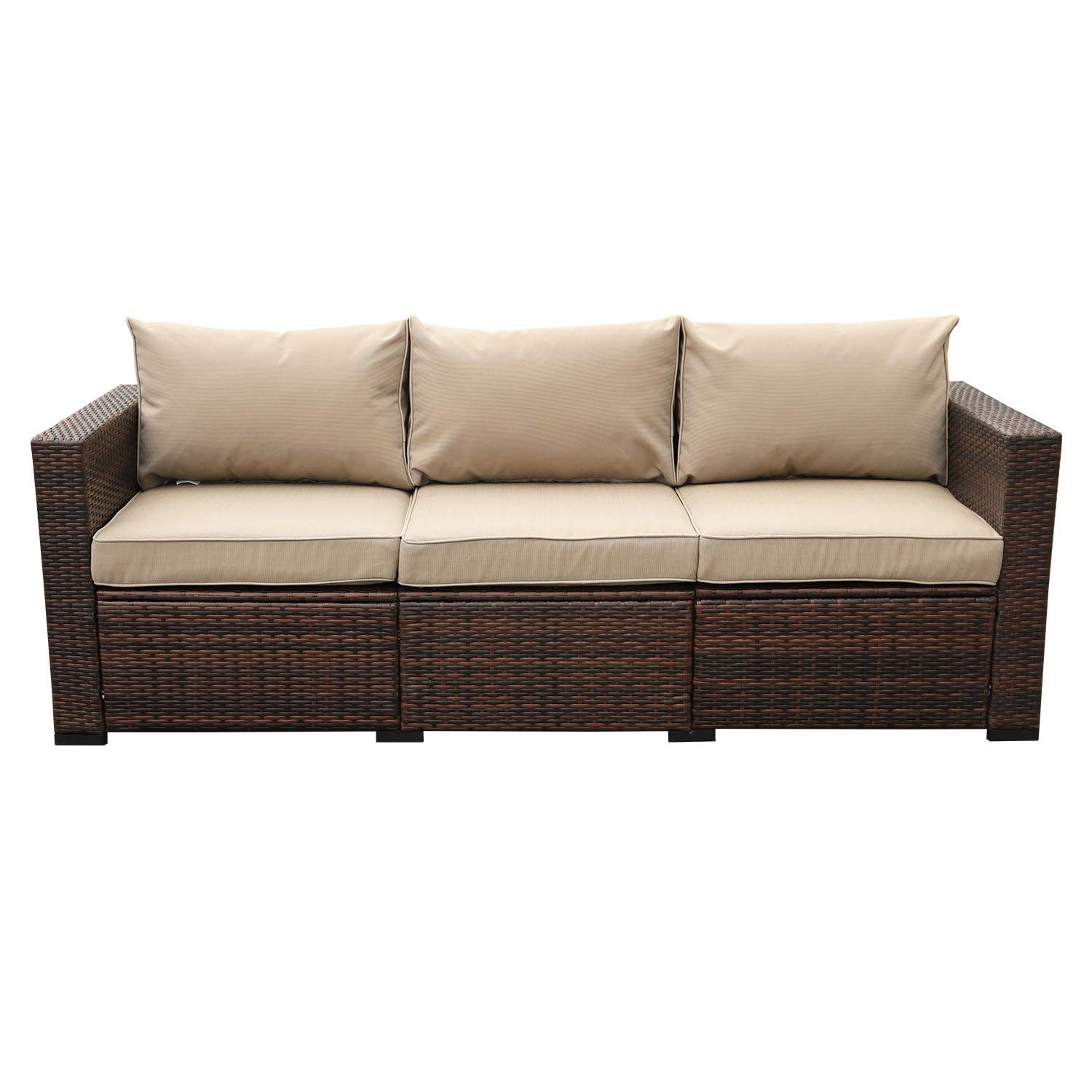 Patio PE Wicker Couch - 3-Seat Outdoor Black Rattan Sofa Seating Furniture  with Beige Cushion