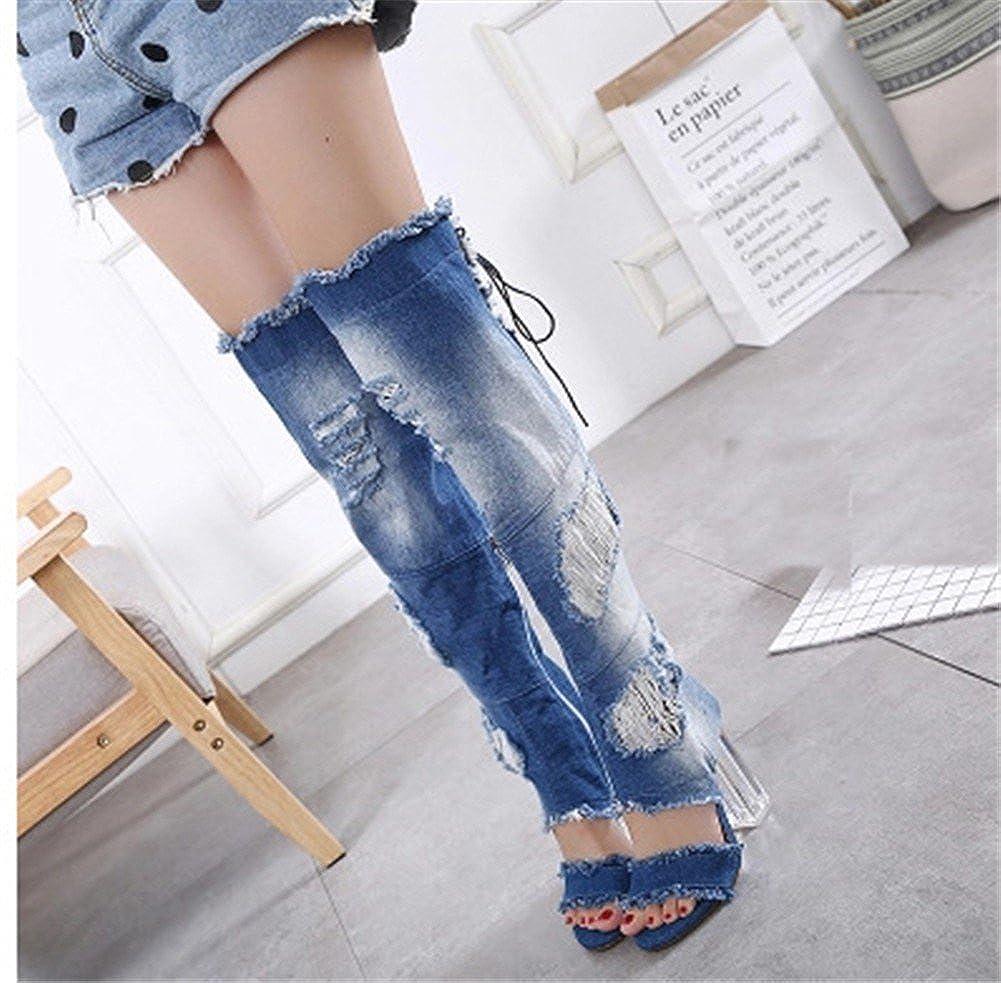 YUCH Damens's Coole Stiefel Stiefel Coole und High-Barrel-Schuhe Blau b70f94