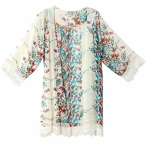 FEITONG Las mujeres imprimieron el chal de gasa Kimono Tops Cardigan cubre para arriba la blusa