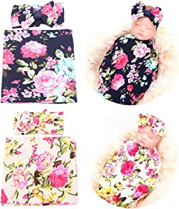 QandSweet Newborn Swaddle Blanket and Headband Unisex Baby Printing-Flower Wrap 2 Sets (Navy and Beige)