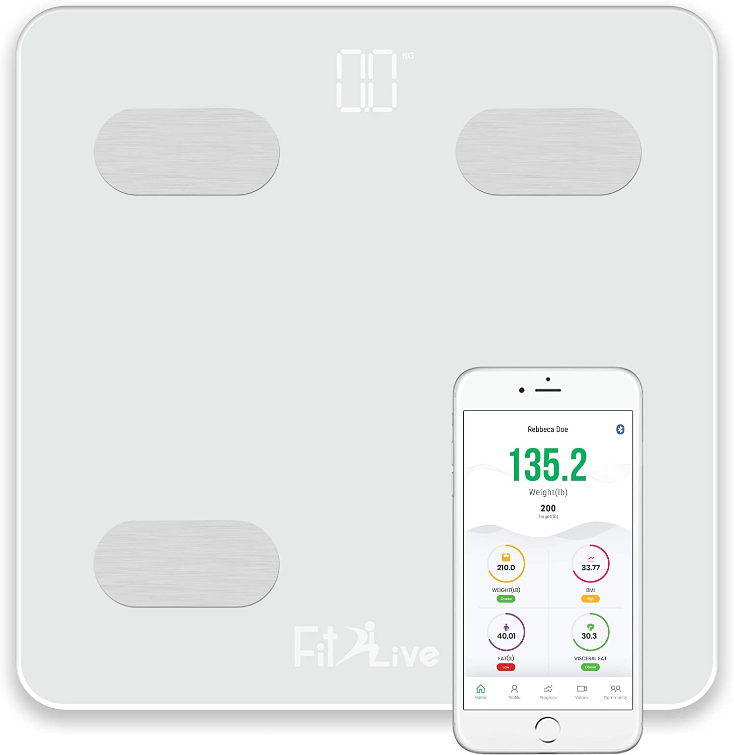 Bluetooth Smart Body Fat Scale- Fit2Live Digital Bathroom Weight Scale, Body Composition Analyzer, USB Rechargeable, with iOS and Android App for Body Weight, Fat, Water, BMI, BMR, Muscle Mass White