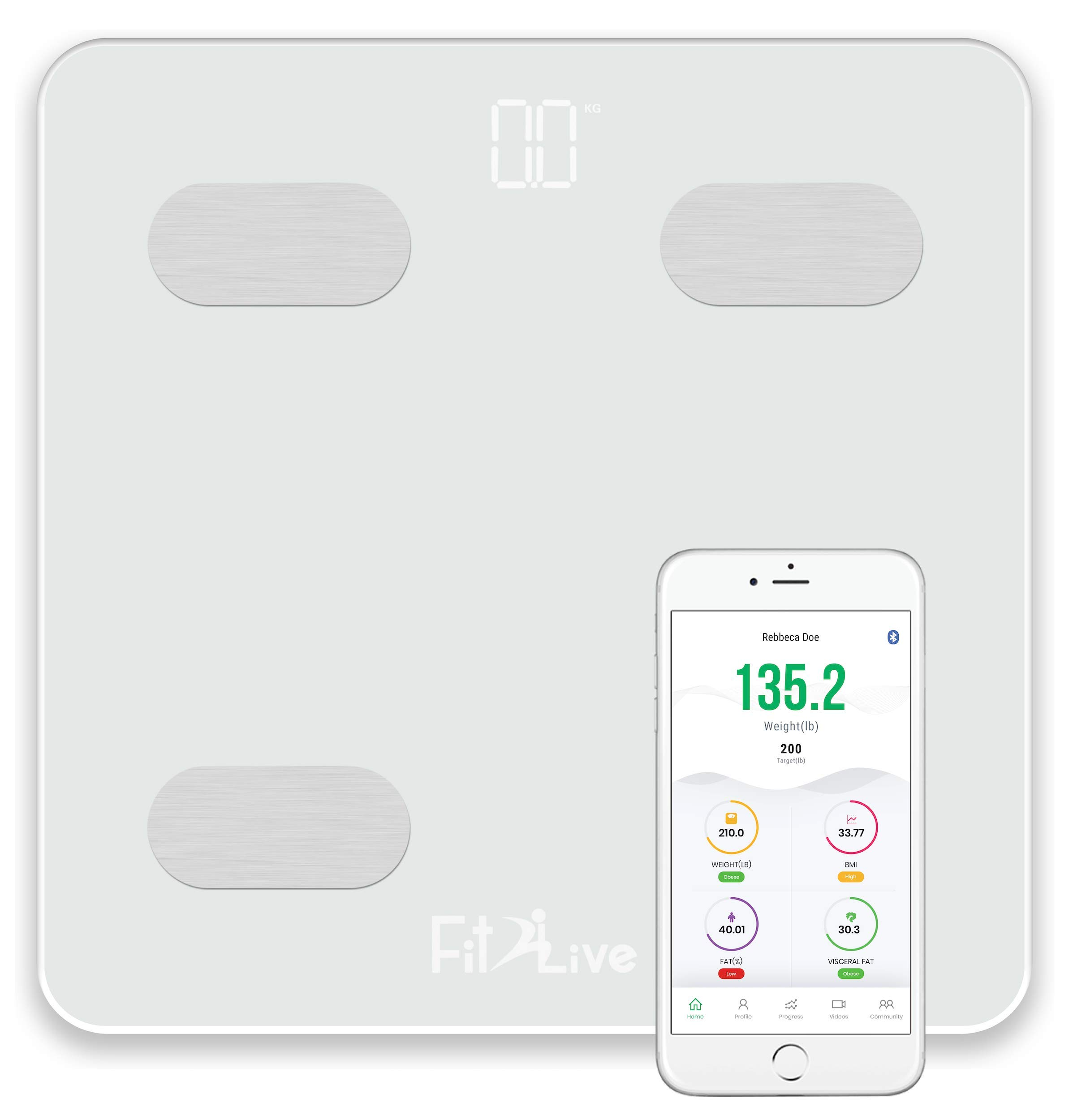 Bluetooth Smart Body Fat Scale- Fit2Live Digital Bathroom Weight Scale, Body Composition Analyzer, USB Rechargeable, with iOS and Android App for Body Weight, Fat, Water, BMI, BMR, Muscle Mass (White) by Fit2Live