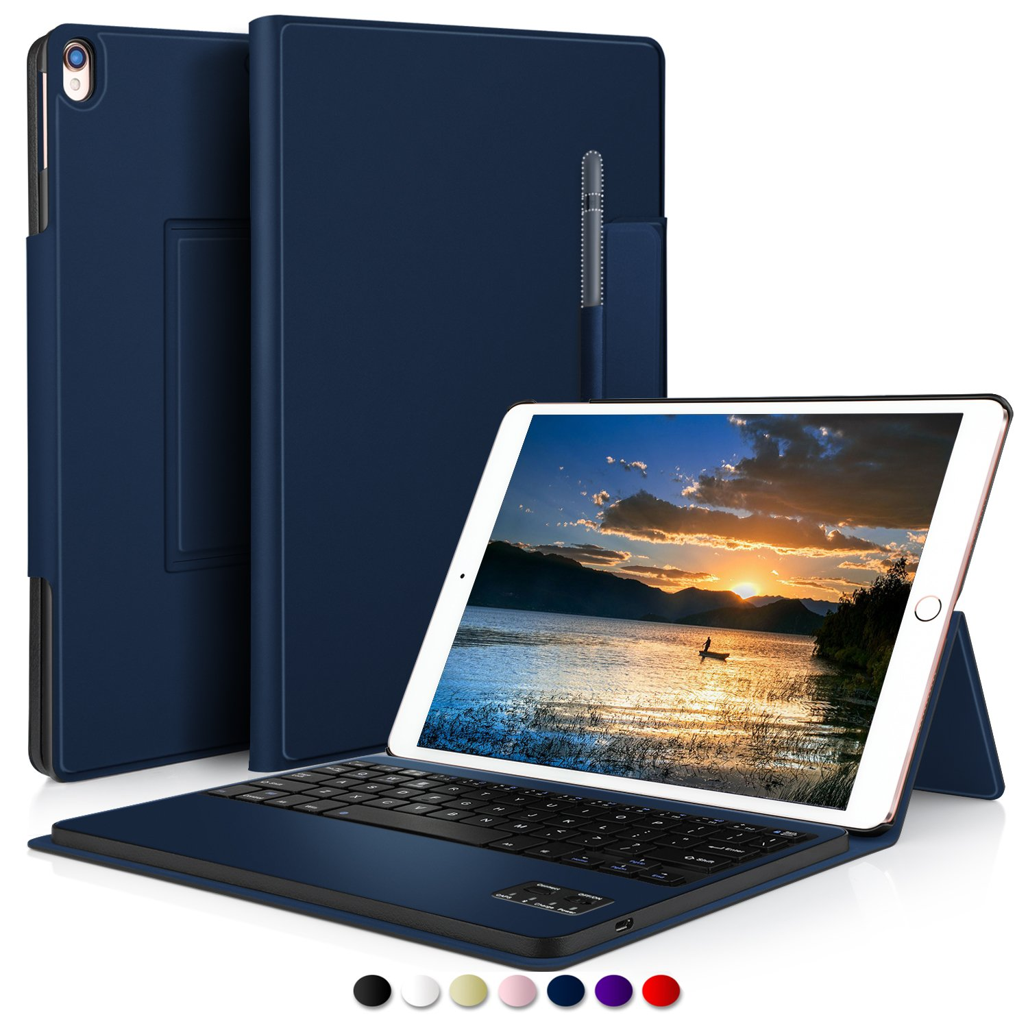 IVSO Apple iPad Pro 10.5 Case with Keyboard Ultra-Thin Detachable Wireless Keyboard Stand Case/Cover + Pencil Holder for Apple iPad Pro 10.5-inch 2017 Version Tablet (Blue)