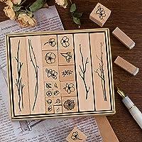 Lychii Houten stempel om te knutselen, 20 stuks rubber hout vintage houten stempels bruiloft, cadeauhangers…