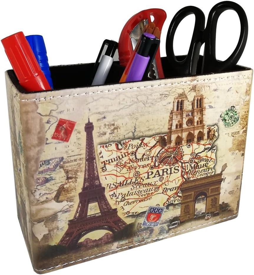 Vintage Pen Pencil Holder Cup - DreamsEden Retro Pattern Desk Organizer for Home Office Bedroom (Beige Paris Eiffel Tower Square)