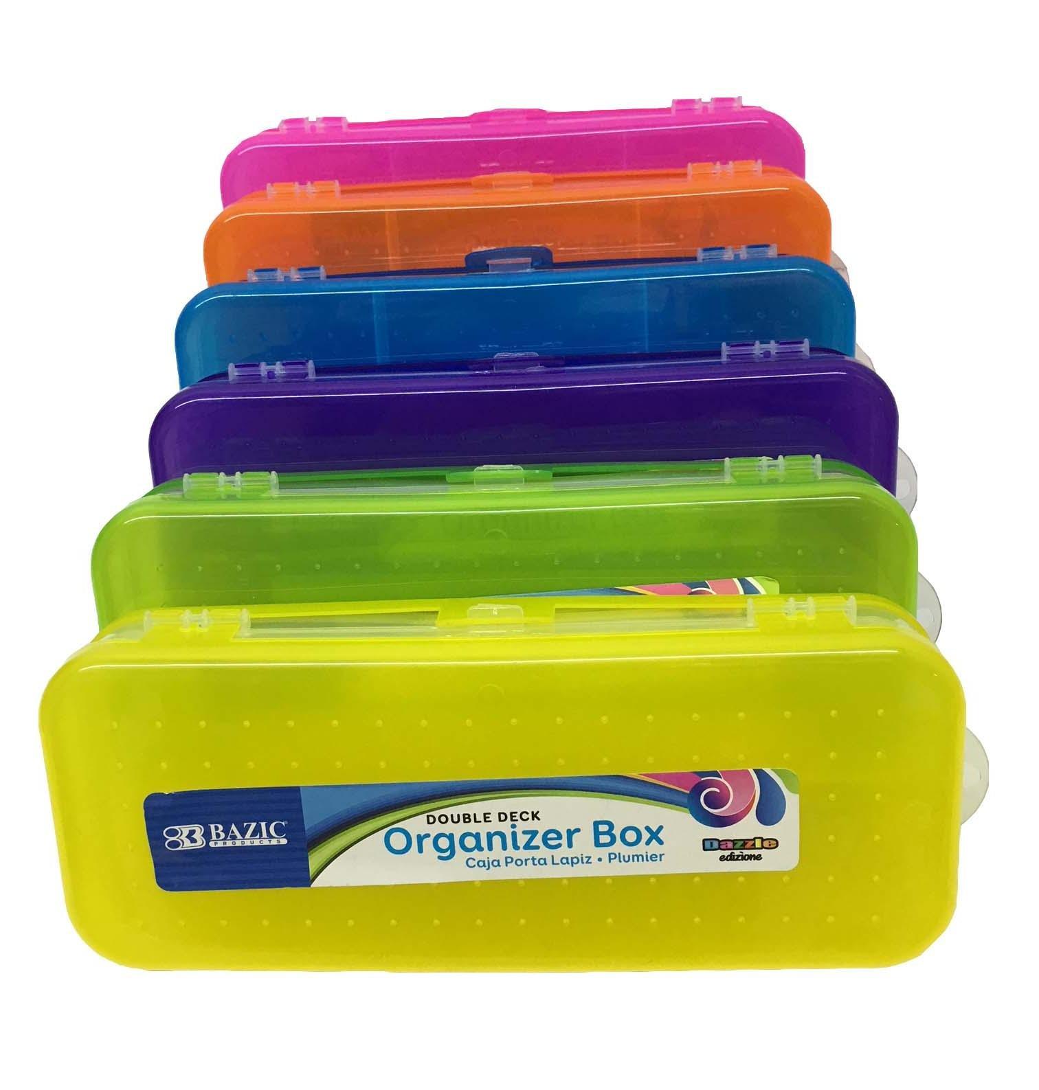 Pack of 6 Mini Pencil Box 8'' Bright Assorted Color Double Deck Plastic School Office Organizer Box Multipurpose Utility Box Plus 6 Pencils