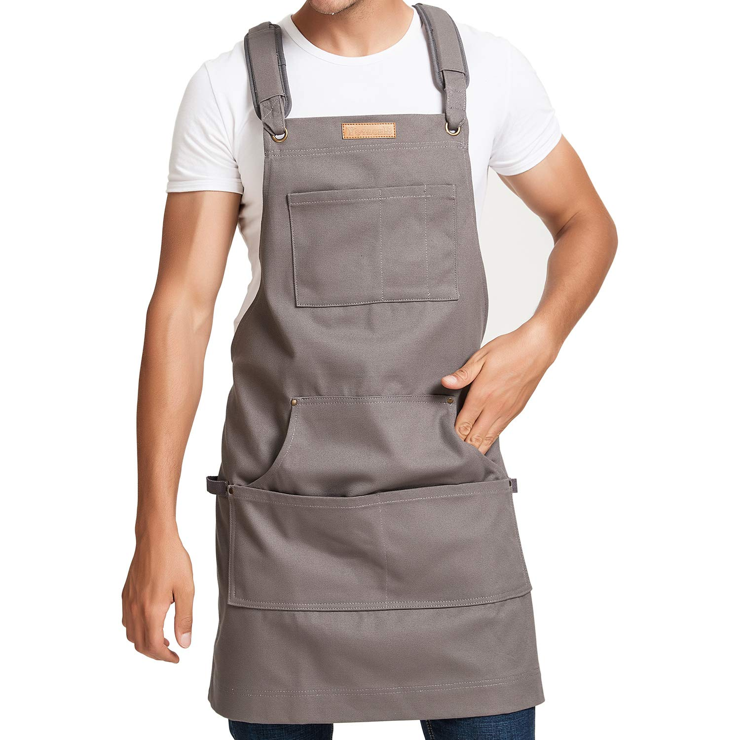 Woodworking Apron Professional Canvas Apron with Multi Pockets & Dual Hammer Loops & Cross-Back Straps, 16 oz Water Resistant Canvas Fully Adjustable Up to XXL for Men and Women