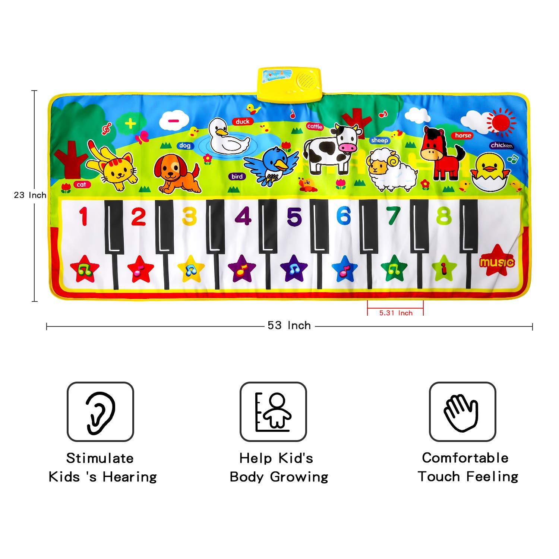 M SANMERSEN Piano Music Mat, Music Dance Mat, Keyboard Play Mat, Animal Blanket Carpet Playmat, Musical Touch Play Game Gifts for Kids Toddlers Girls Boys, 53'' x 23'' by M SANMERSEN (Image #5)