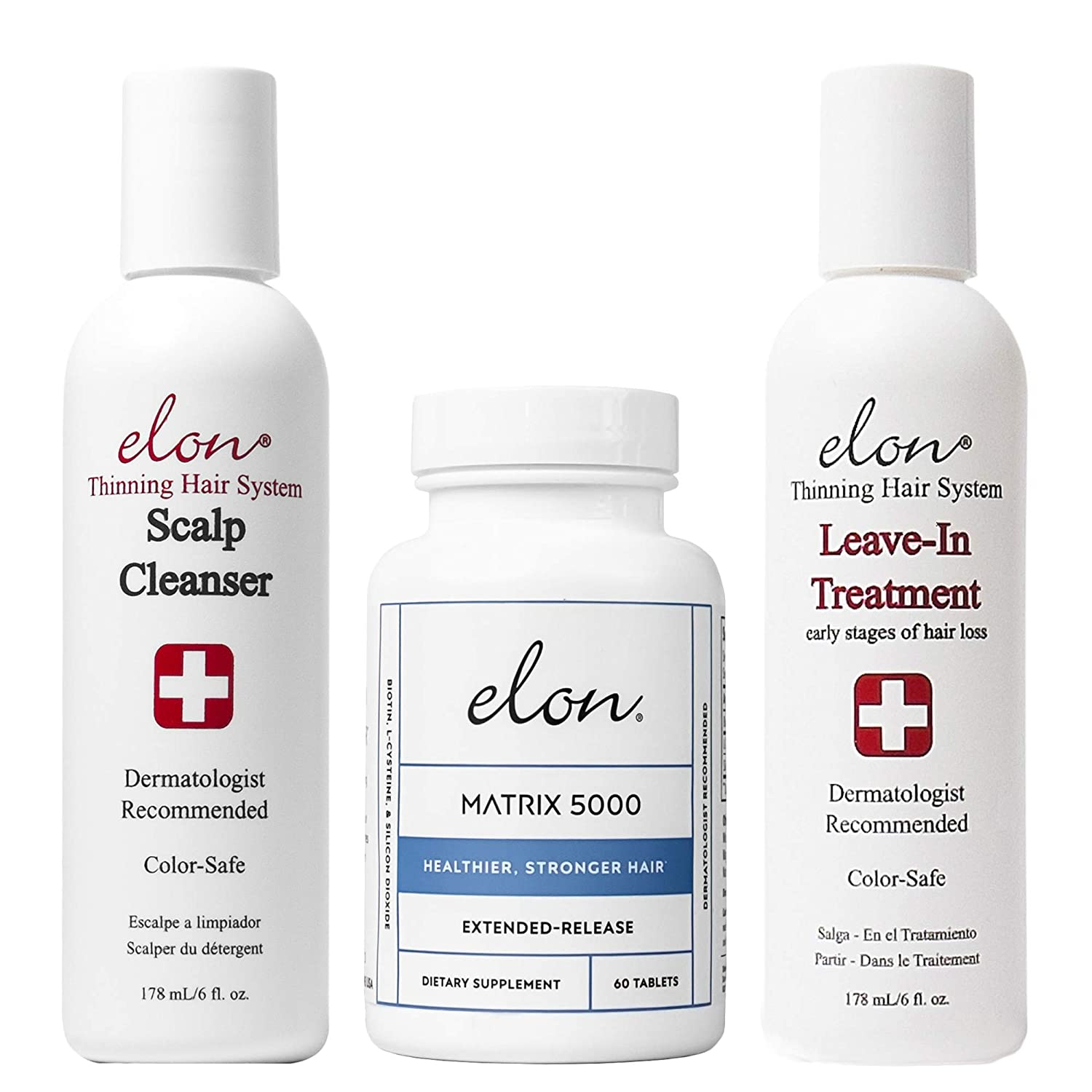 Elon Thinning Hair System for Early Hair Loss   Dermatologist Recommended   Elon Scalp Cleanser, Elon Leave-In Treatment & Elon Matrix 5000 Hair Vitamins (60 tablets)
