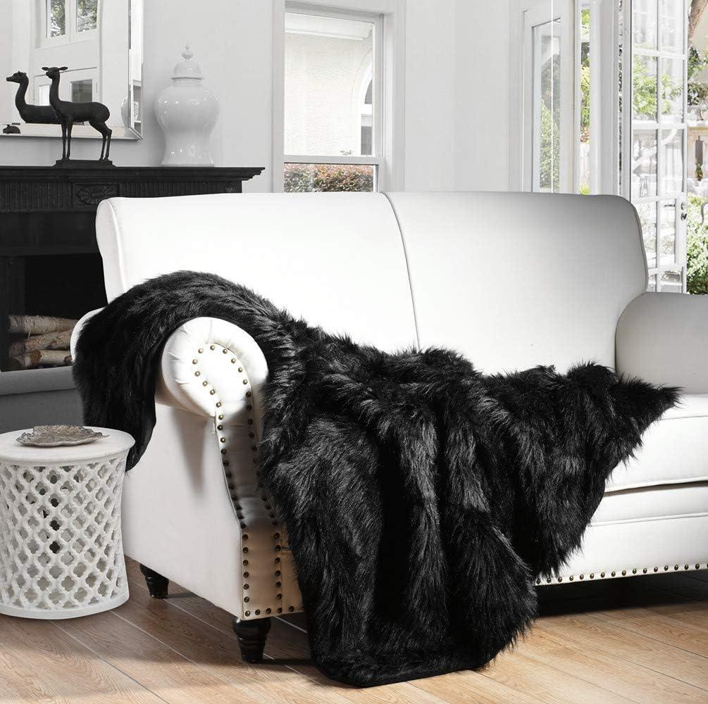 Beglad Super Soft Shaggy Throw Blankets Silver Grey Cozy Long Plush Fuzzy Faux Fur Bed Throw Fluffy Luxury Sherpa Fleece Blanket for Bedroom Living Room 50x60 inch