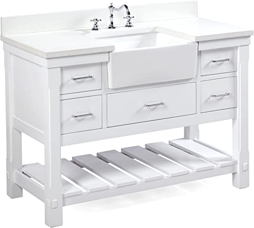 Charlotte 48-inch Bathroom Vanity Quartz White Includes a White Quartz Countertop, White Cabinet with Soft Close Drawers, and White Ceramic Farmhouse Apron Sink