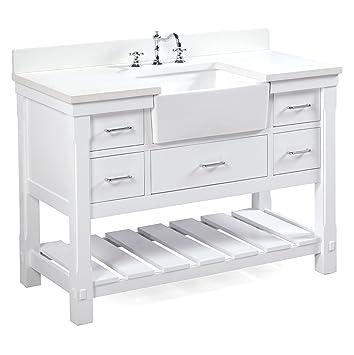 Charlotte 48 Inch Bathroom Vanity (Quartz/White): Includes A White Quartz