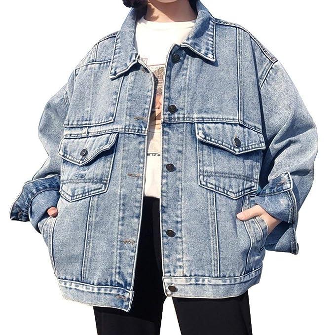 ... Joven Anchas Vaqueras Jacket Hipster Casuales Manga Larga Unicolor con Bolsillos Un Solo Pecho Boyfriend Abrigos Chaqueta: Amazon.es: Ropa y accesorios