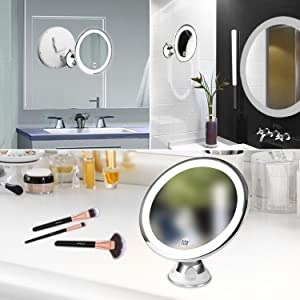 BESTOPE 10X Magnifying Lighted Vanity Makeup Mirror with 16 Led Light