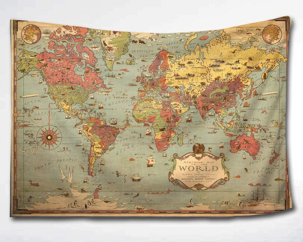 HMWR World Map Tapestry Wall Hanging Vintage Ancient Shabby Chic World Map Compass Wall Fabric Tapestry Throw Artwork Home Decoration for Living Room Bedroom Dorm (60x90 Inch)