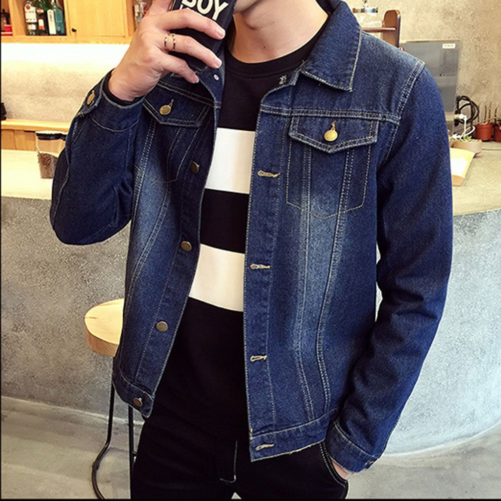efb86b84a70d ... blueee LINGMIN Men's Classic Unlined Denim Jacket Vintage Vintage  Vintage Slim Fit Wash Jean Coats Outerwear ...