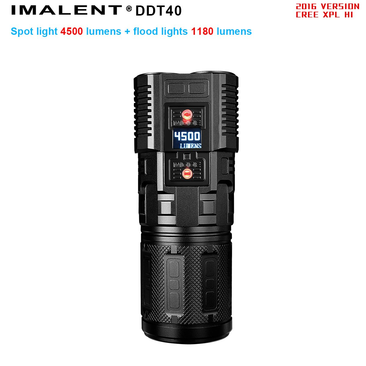 IMALENT DDT40W CREE XP-L HI neutral white LED portable high powerful flashlight 4500lumens with side 1180lumens warm white lights perfect for camping and photography