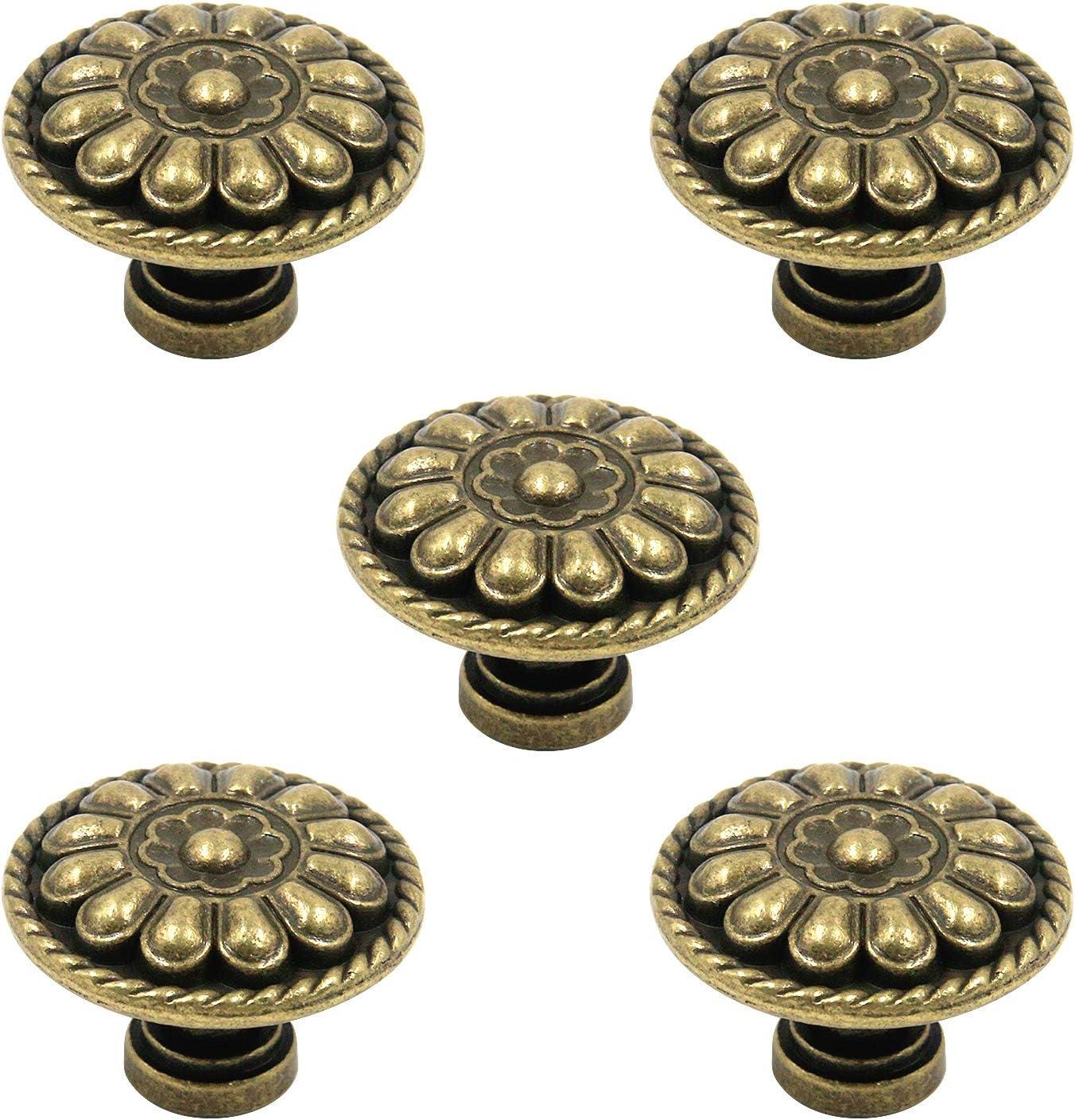 Tulead 5PCS Vintage Drawer Pulls Metal Dresser Knobs Jewelry Box Knobs Pull Knobs Bronze Round Drawer Pulls 1.3