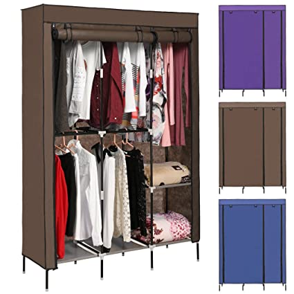 Tomasar Clothes Closet Portable Wardrobe Closet Organizer Storage Double Rod  Closet (Coffee)