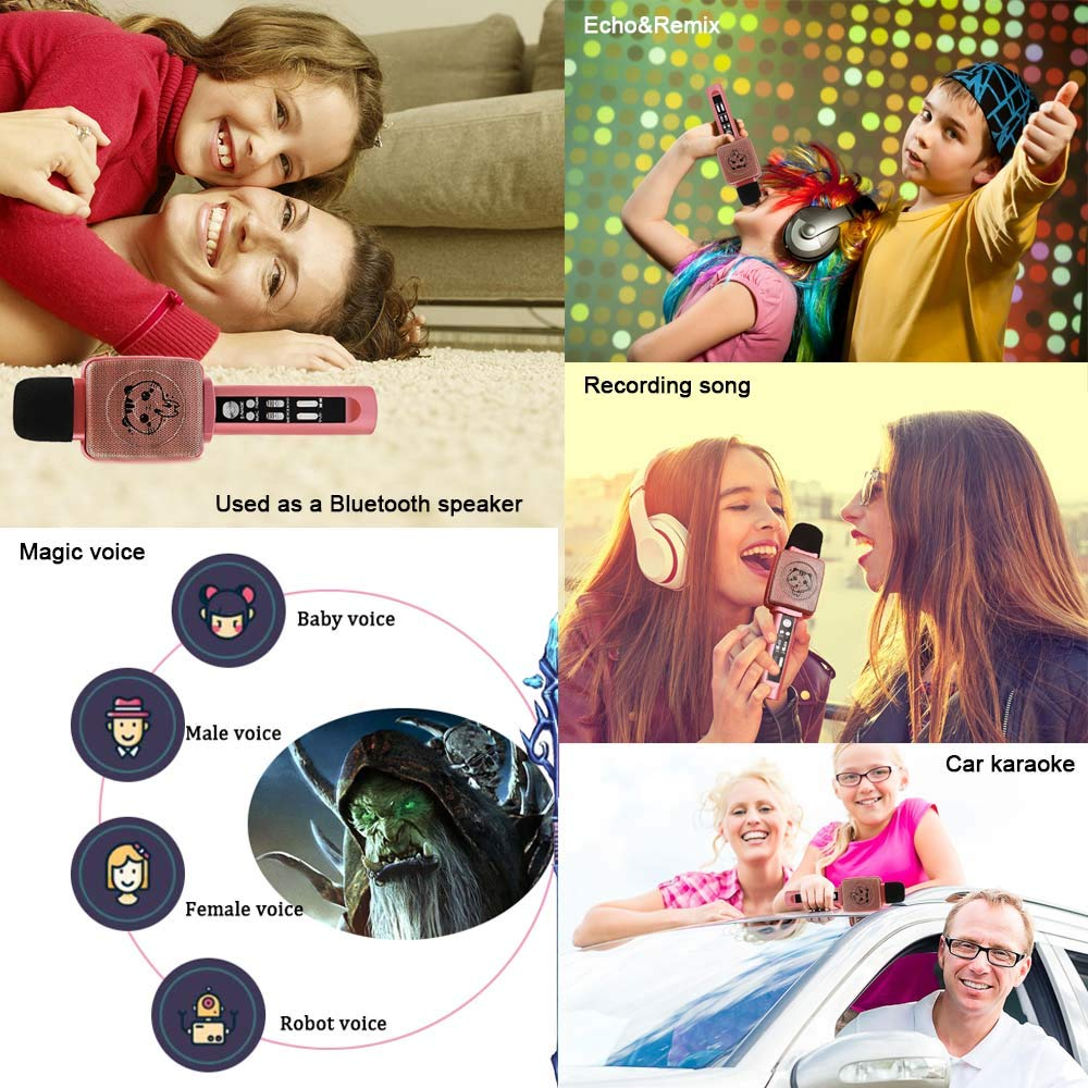 TSUN Kids Karaoke Microphone,Wireless Portable Karaoke Microphone for Kids with Bluetooth Speaker,Voice Changer and Song Recording,Holiday Birthday Gifts for Girl Age 4-18,Best present for Teen Girl by YSUN (Image #5)
