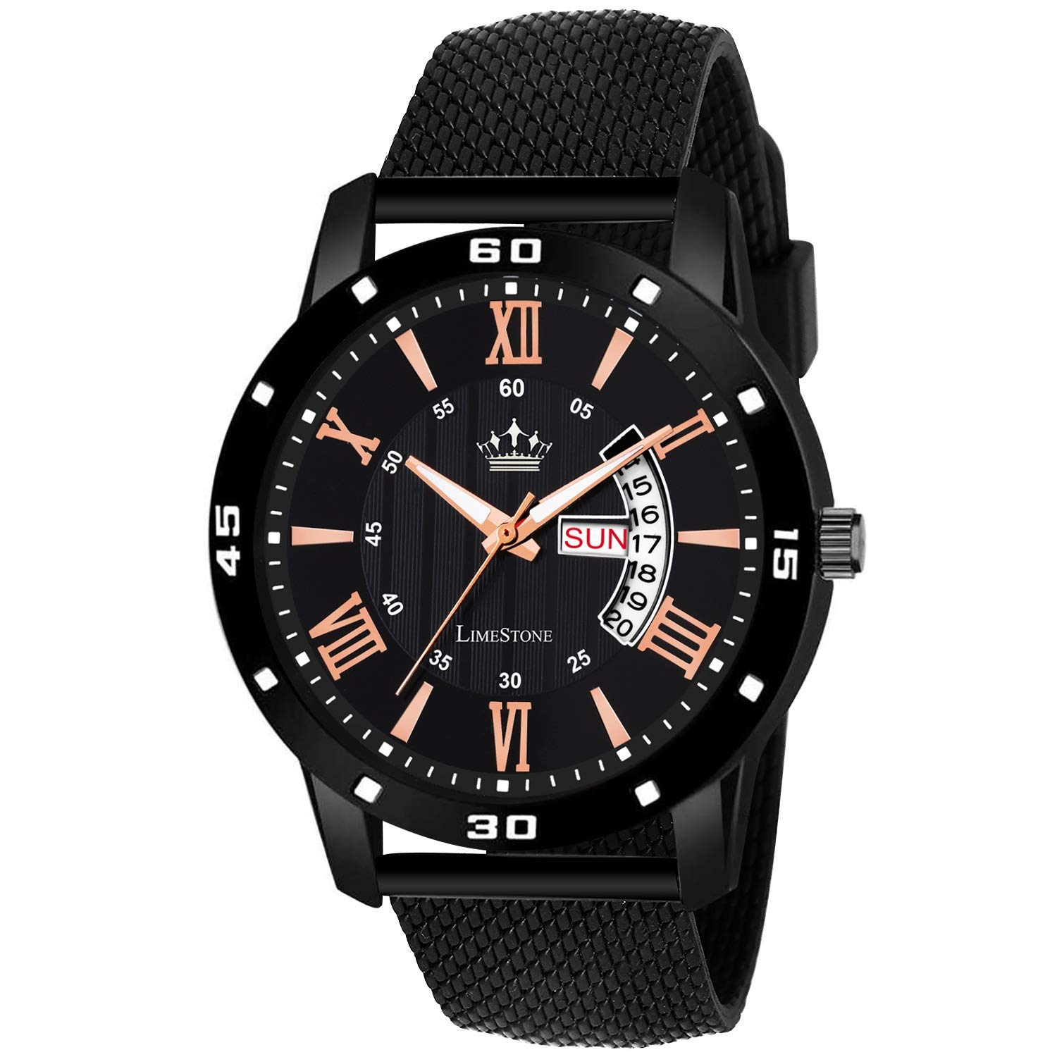 LimeStone Day and Date Functioning Black Quartz Watch for Boys - (LS2805) product image