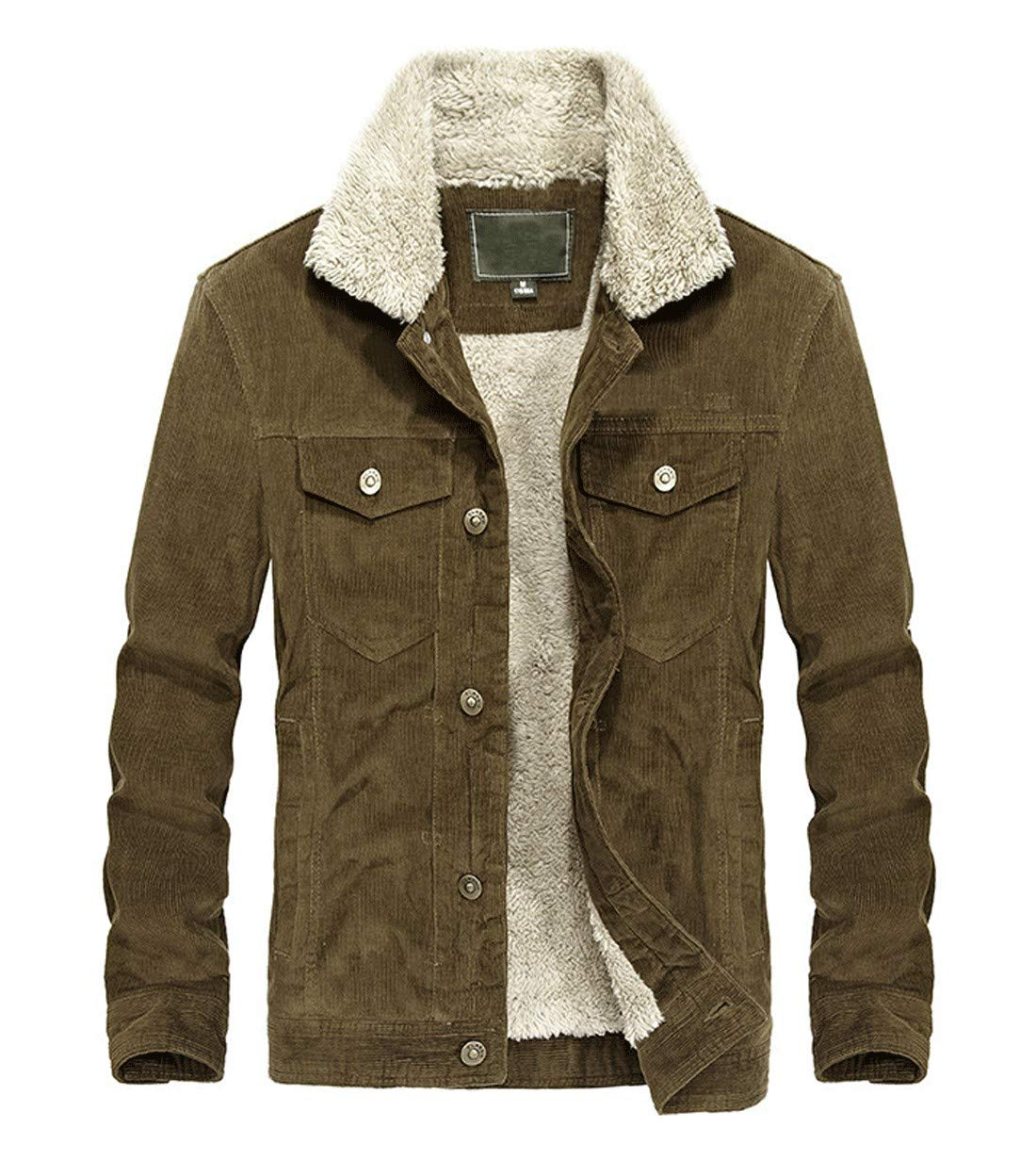 CHARTOU Men's Vintage Button-Front Sherpa Lined Shearling Slim Fit Corduroy Denim Jacket (X-Large, Coffee-Fleece) by CHARTOU