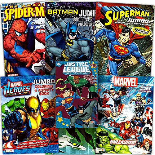 Superhero Giant Coloring Book Assortment ~ 7 Books Featuring Avengers, Justice League, Batman, Spiderman and More (Includes Stickers) ()