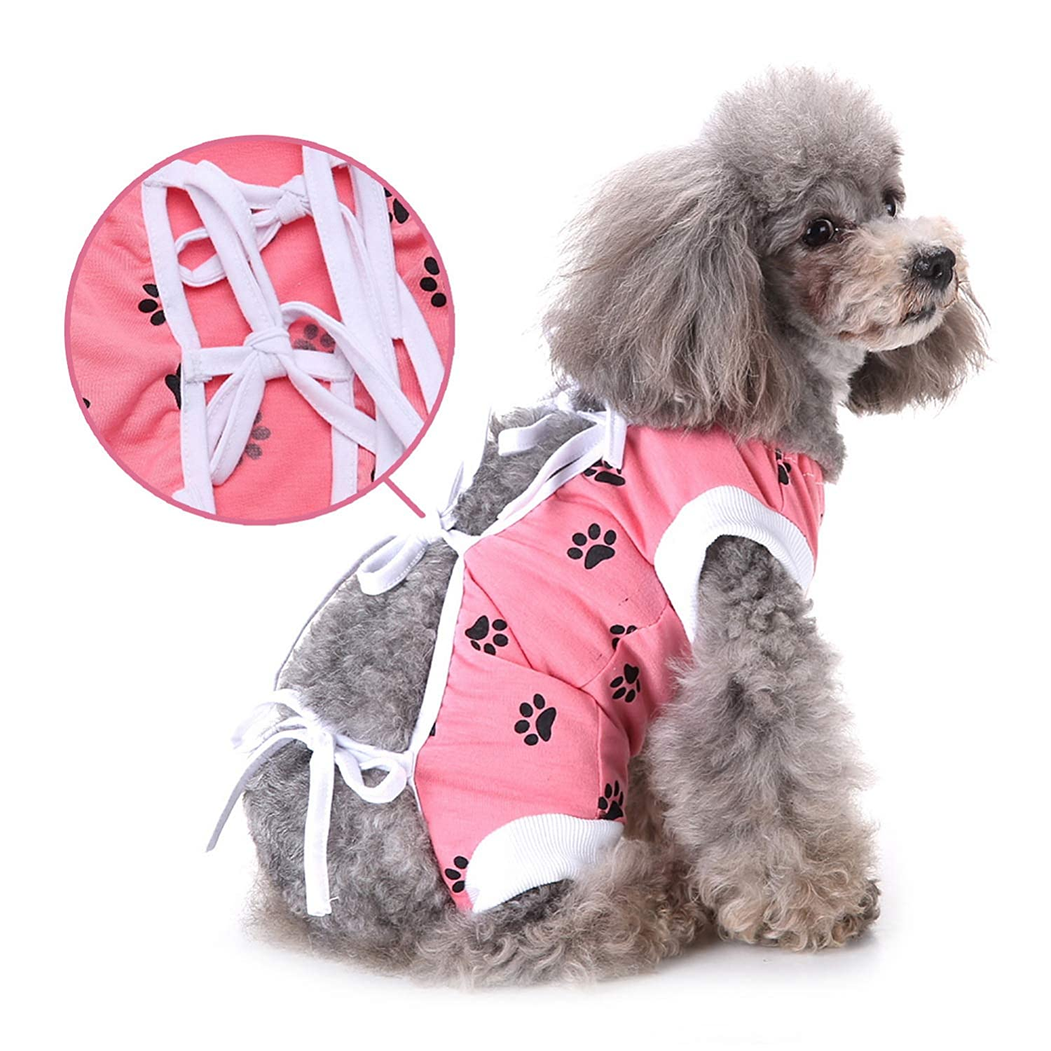 Zunea Small Dog Recovery Suit for After Surgery Female Male Pet Abdominal Wounds Body Wrap Soft Cotton Cone Alternative Injured Care Protection Skin Diseases Prevent Lick Puppy Cats Clothes