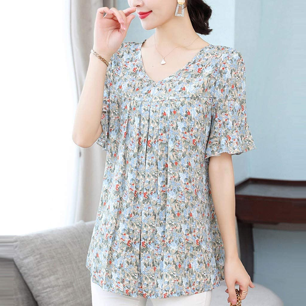 Amober Shirt for Women Girls,Plus Size Lady Fashion Women Top Chiffon Print Short Sleeve Casual Shirt Blouse