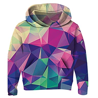 d1877fa0b Uideazone Teenagers Girls Hoody 3D Diamond Printed Long Sleeve Sweatshirts  Unisex Hoodie