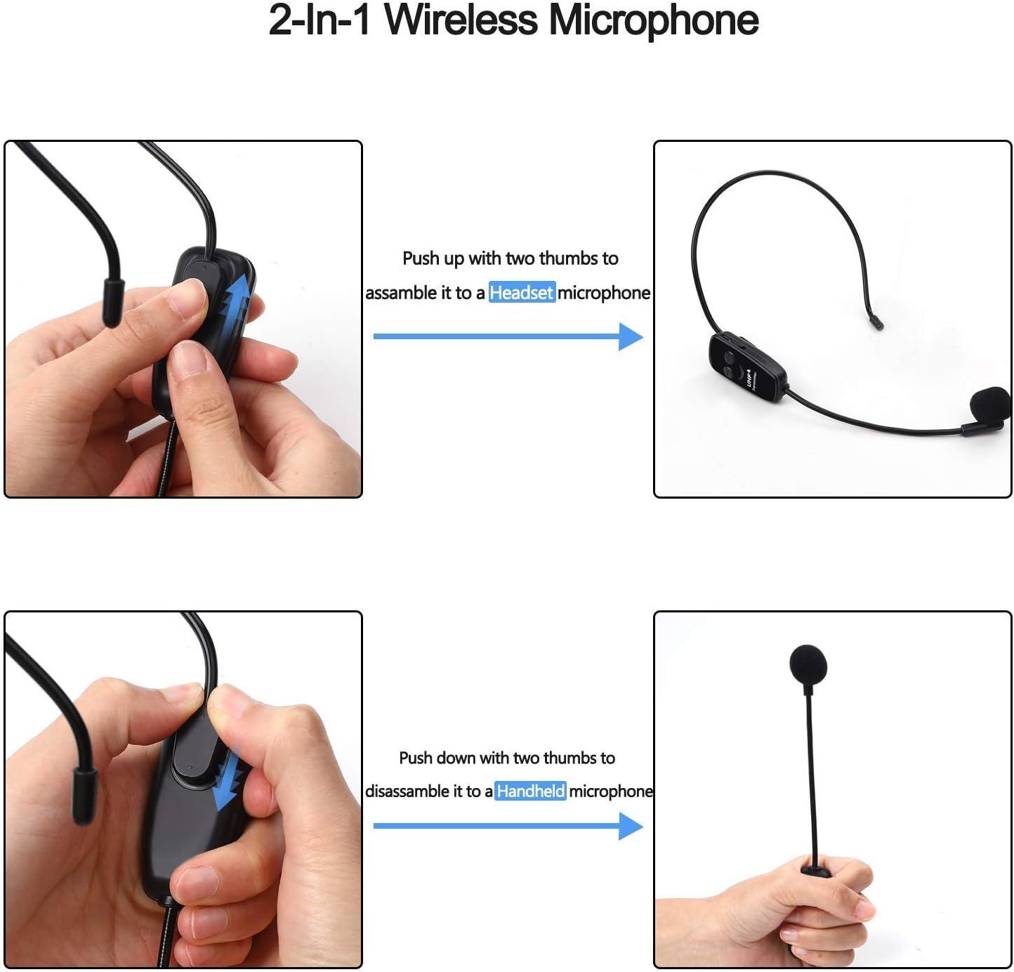 Microfono Auricolare e Mano 2 in 1 per Amplificatore Vocale Mixer Audio Computer Jelly Comb 2.4G Microfono UHF Senza Fili Stabile 30m Trasmettitore Wireless Altoparlanti Nero