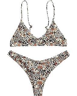 4f2b8ac8ba4a ZAFUL Women's Padded Bikini High Cut Leopard Bottoms Two Piece Bikini Set  Swimsuit