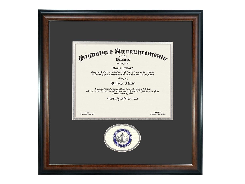 Signature AnnouncementsUniversity-of-Alabama-in-Huntsville Doctorate Sculpted Foil Seal Graduation Diploma Frame 16 x 16 Matte Mahogany