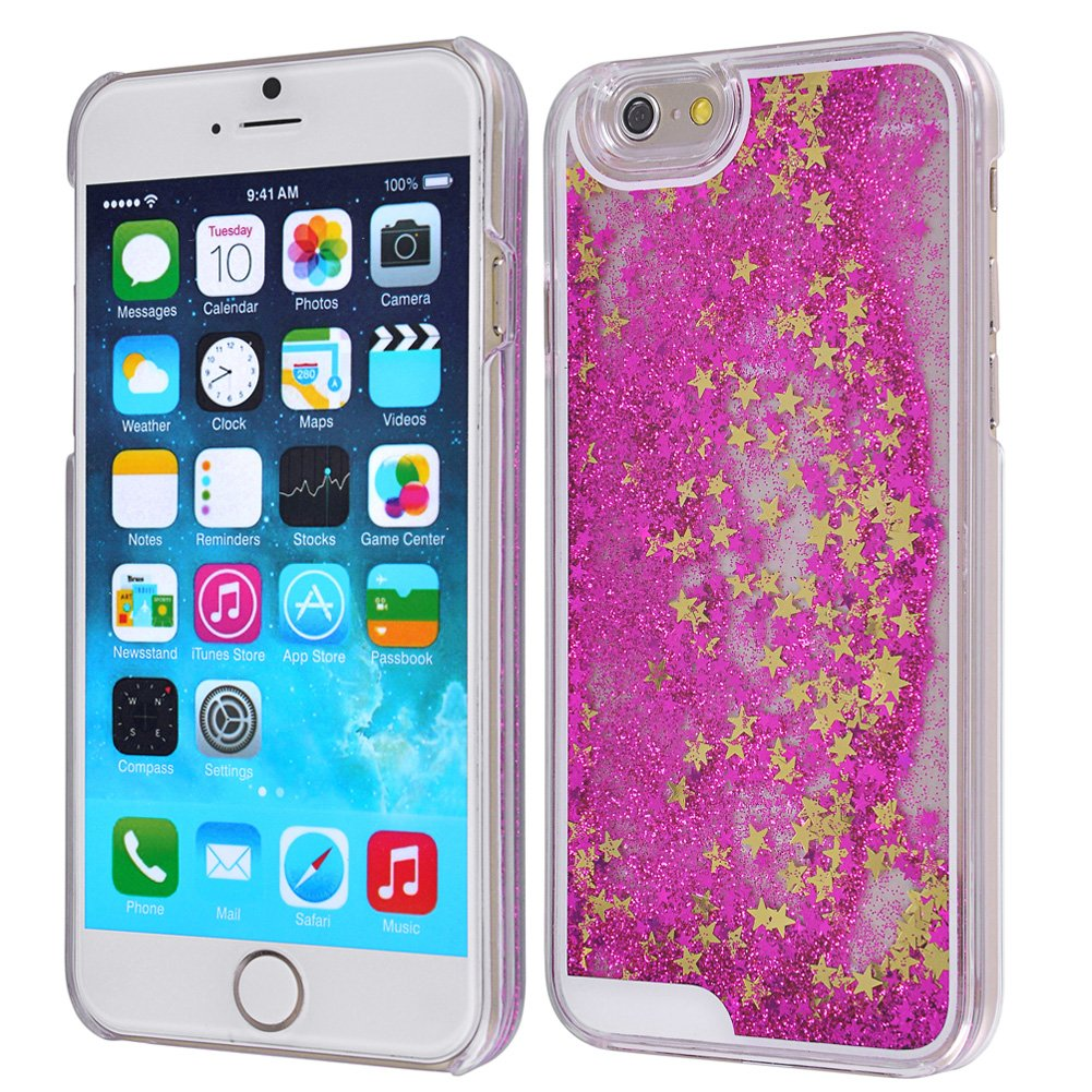 Yoption Transparent Plastic 3D Glitter Quicksand and Heart Liquid Case for iPhone 6 6s 4.7\
