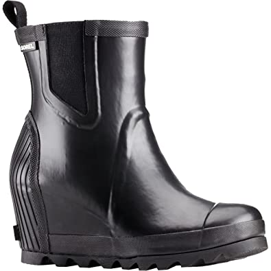 5ee3366dc85 SOREL Women s Joan Rain Wedge Chelsea Black Sea Salt 9.5 B US B (M